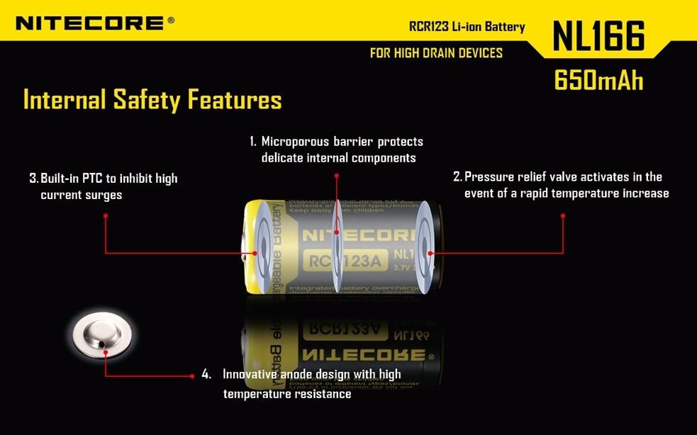 1pc Nitecore NL166 RCR123A (16340) 3.7 V 650 MAh 3A Li-ion Recargable Con PCB Protegidas
