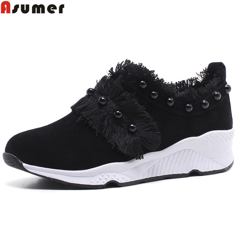 ASUMER fashion black pink fashion spring autumn shoes woman round toe casual comfortable sneakers women   suede     leather   flats