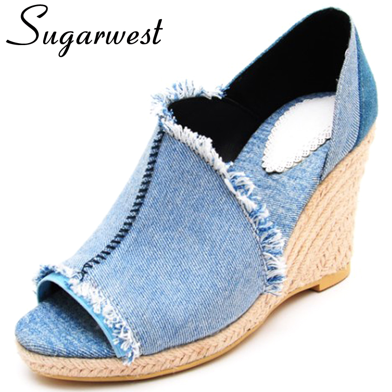 c25114797502 Sugarwest Sandalias Mujer Plataforma Beach Sandal Europ Style Peep Toe  Ladies Shoes 2016 Weave Women Denim Wedges Sandals WW407