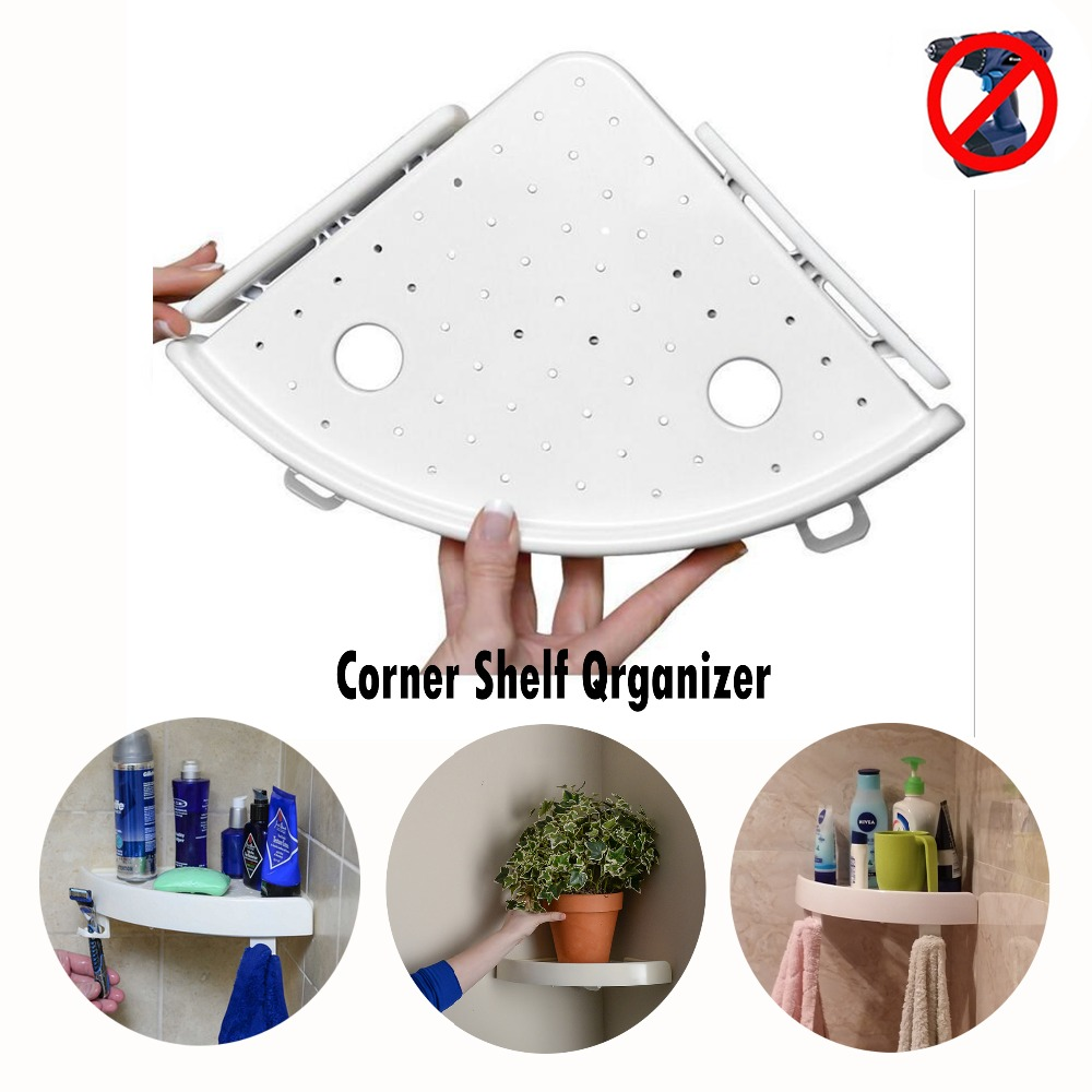 Bathroom Corner Storage Holder Shelves Rack Organizer Shower Wall Shelf Corner Storage Suction No Screws Home
