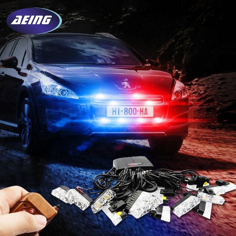 AEING 16x 2 Car LED Flash Emergency Strobe Warning Grill Light wireless control Ultra Bright 32 LED 32W Red Blue Amber White
