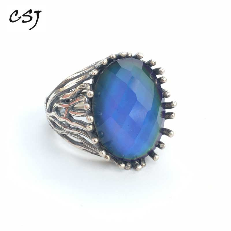CSJ Created Diaspore Zultanite Ring Oval13*18mm Fine Jewelry For Women Lady Gift Color Change Stone Under Temperature