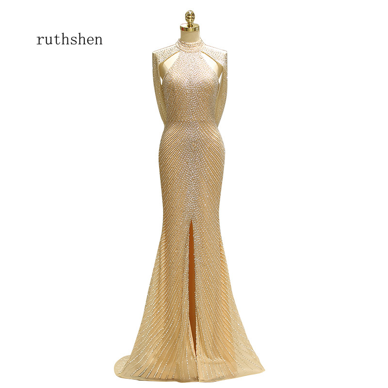 Ruthshen 2018 Nuovo Sexy Della Fessura Della Sirena di Stile Abiti Da Sera Formale Vestaglie De Soiree Abiti Da Sera Abiti Occasioni Speciali