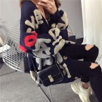 Poncho New Time limited Acrylic Casual Computer Knitted Full 2018 Autumn Women Sweaters Long Cardigan Lazy Wind Letter Sweater