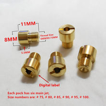 ( 6 pcs/pack ) VM16 JOG 50 / 72cc karburator, Mikuni VM 11/22 Jet utama untuk 1PE40QMB 1E40QMB 2 T skuter karbohidrat, ( Label Digital display )(China)