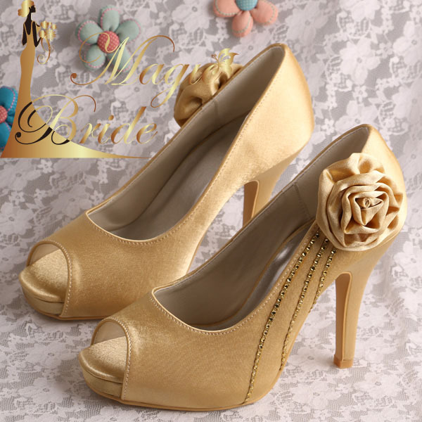 Wedopus Gold Satin Flower Platform Small Size Prom Shoes Party Pumps Peep Toe