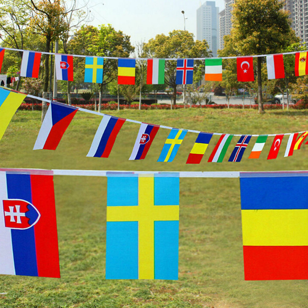 Bar Home Party Decoration International World Banner Bunting 25m 100 Pcs Different Countries String Flag