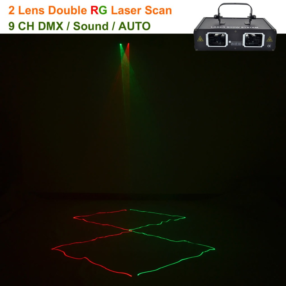 2 Lens Red Green RG Beam Laser Light DMX 512 Professional DJ Party Show Club Holiday Home Bar Projector Stage Lighting 506RG 3 in 1 kit stripe pattern 30 pin interface charging and data transfer cable with us standard power adapter and car charger for iphone 4 4s