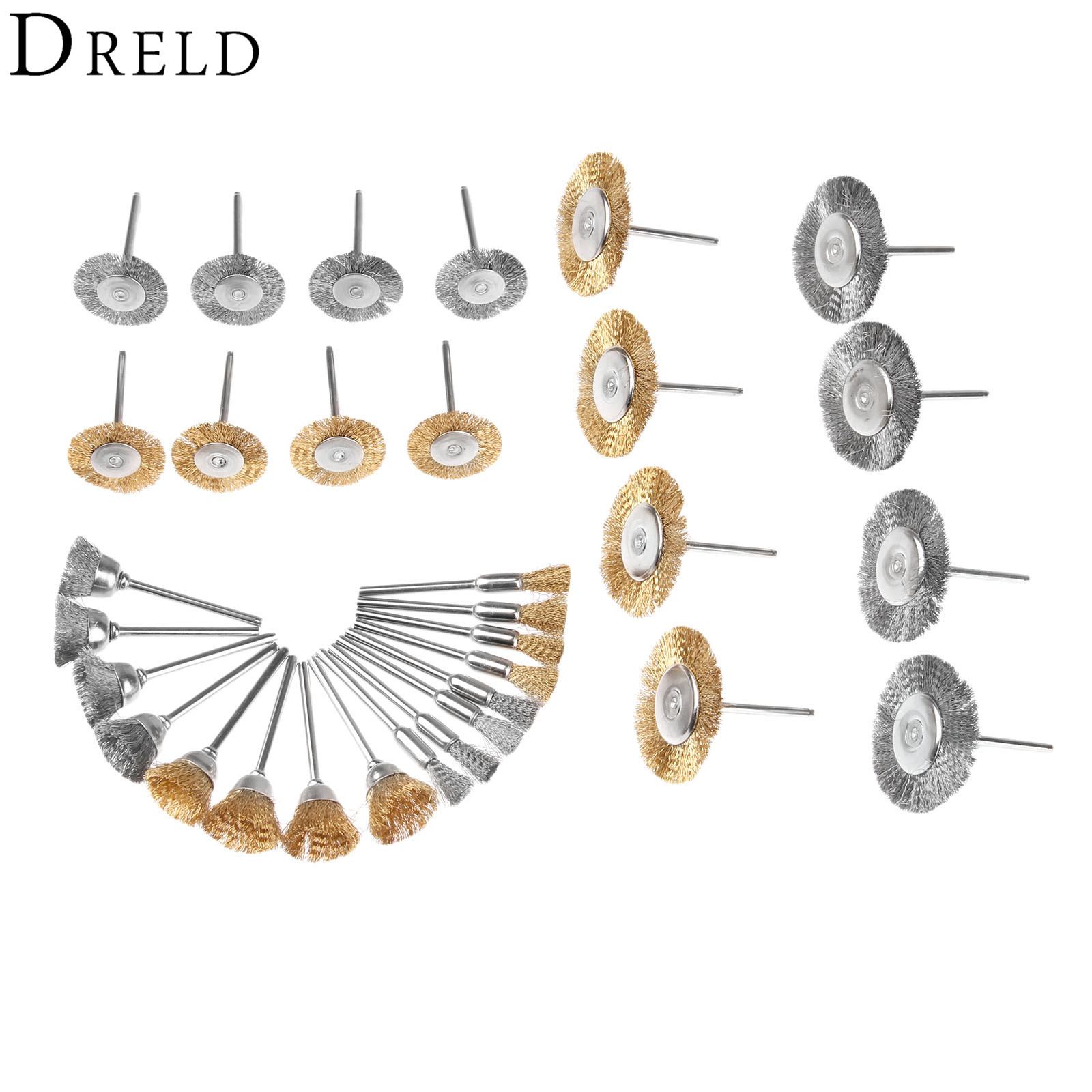 DRELD 32Pcs Dremel Accessories Brass Steel Wire Brush Polishing Wheels Kit L Metal Deburring Grinding Cleaning For Rotary Tools