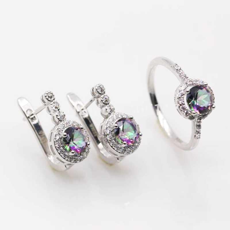 GZJY, ювелирные изделия, много цветов, кубический цирконий, круглые золотые серьги, набор колец для Женщин, Модные женские ювелирные изделия
