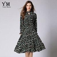YuooMuoo New European Style Floral Chiffon Dress Women Butterfly Sleeve Print Dress Feminine Vintage Knee Length