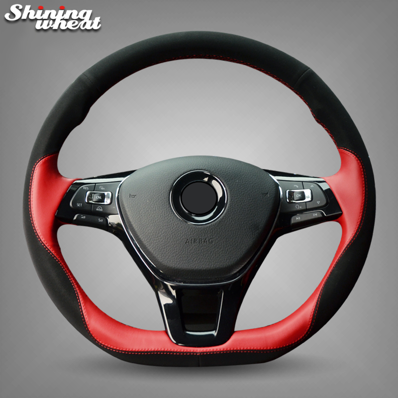 Shining wheat Black Suede Red Leather Steering Wheel Cover for Volkswagen VW Passat B8 Golf 7 Mk7 New Polo Jetta atreus 1pcs steering wheel sticker r emblem for volkswagen vw passat b8 polo jetta touran bora golf 7 gti mk7 auto accessories