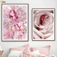 Abstract Sexy Nude Girl Pink Rose Wall Art Canvas Painting Nordic Posters And Prints Wall Pictures For Living Room Home Decor