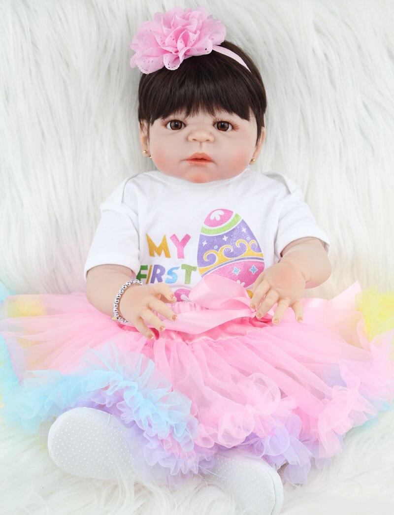 NPKCOLLECTION 55 см полный силиконовые возрождается девочка игрушки куклы реалистичные Новорожденные принцесса младенцы кукла прекрасный подаро...