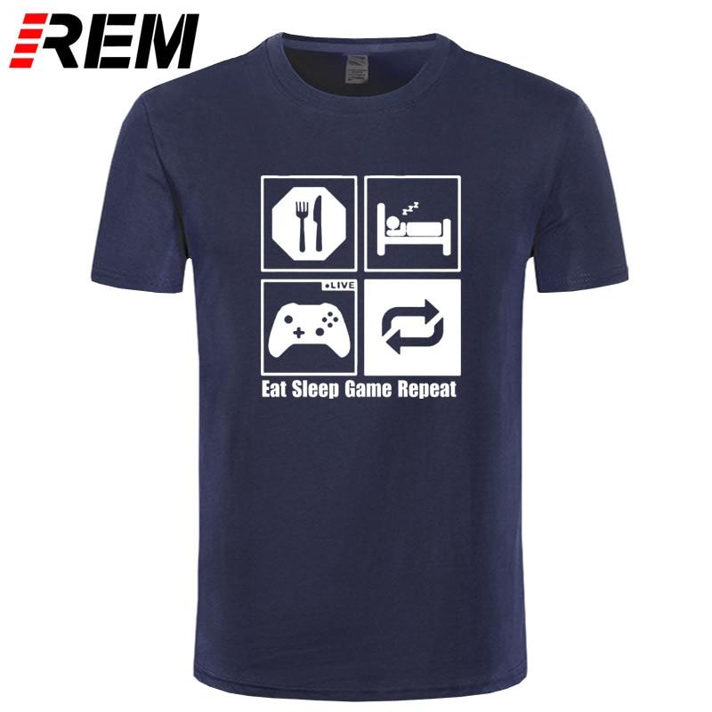 REM divertida nueva moda Eat Sleep Game repetir Mens Gamer divertida Camiseta de algodón de patrón personalizado hombre Camiseta casual