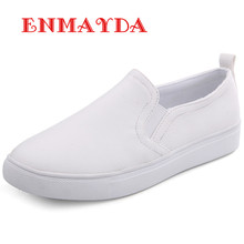 ENMAYDA New Spring and Autumn 3 Colors White Shoes font b Woman b font Loafers Flats