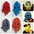 Funny performance hat Yarn handmade octopods hat shapeshift wigs gift Wig Beard Hats Hobo Mad  Handmade Knit Warm Winter hat