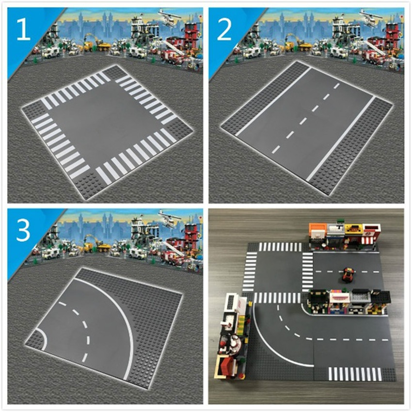 Road Plate City Street Base Plate for Bricks Baseplate Board Compatible Legoed figures DIY Building Blocks Toys For Children legoingly city road base plate straight crossroad curve t junction street baseplate building blocks bricks toys for children