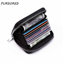 PURDORED 1 pc Solid Women Card Holder PU Leather Credit Card Holder Zipper Business Card Pocket Unisex Card Case Dropshipping