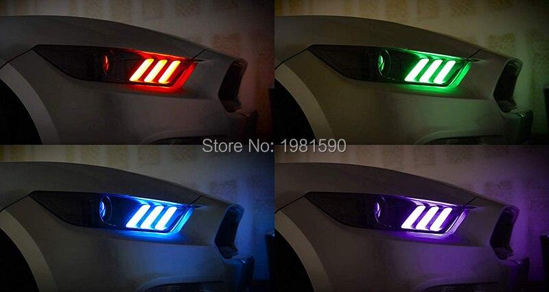 פורד 1SET RGBW LED DRL ערכות מנורה הדירקטוריון פורד מוסטנג 2,015--2,017 אורות רכב בשעות היום הפעלת אורות (5)