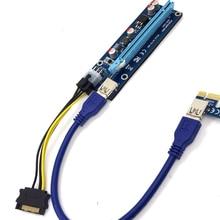 USB3.0 PCI-E Express 1x À 16x Extender Riser Carte Adaptateur SATA 6Pin Câble D'alimentation Pour Bitcoin Futural Numérique Dropship JUN22