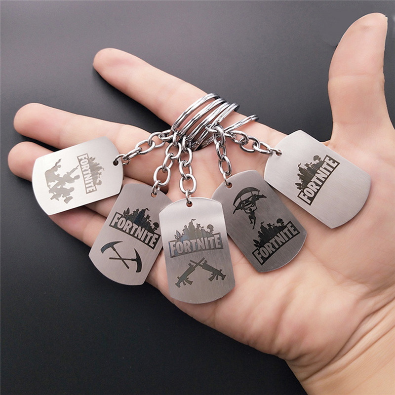 FPS Game Fortnite Battle Royale Keychains Stainless Steel keyring Laser Print Personalized Jewelry Do not fade 5 Styles X7-M2