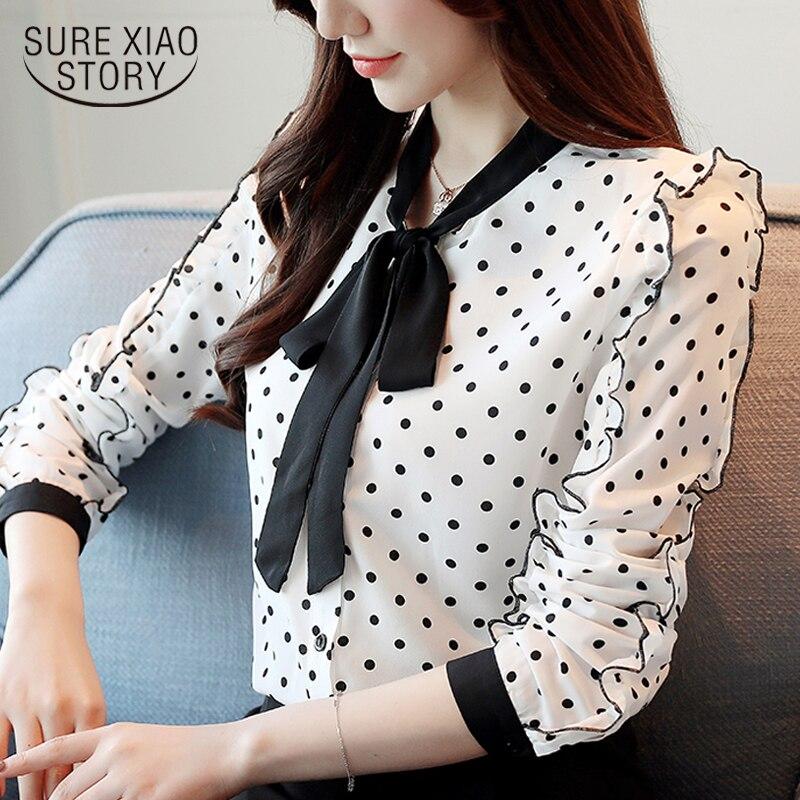 fashion women   blouse   2019 bow collar office   blouse   women dot white chiffon   blouse     shirt   femael long sleeve women   shirts   1318 40