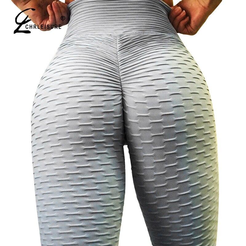 CHRLEISURE Sexy Push Up Workout Leggings Femmes Taille Haute Serrés Leggins Mujer Rides Absorbant Respirant Femmes Leggings