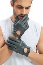 kimobaa man whole piece of top Italy sheep leather unlined driving cool gloves black grey