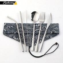 Sunhanny портативный столовая посуда из нержавеющей стали набор 304 столовые приборы посуда набор с Сумка для переноски малыша путешествия пикник