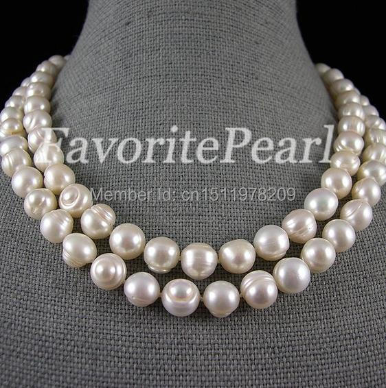 Free Shipping - 10-11mm 37 Inches AA White Color Natural Freshwater Pearl Necklace Huge Pearl Jewelry 16 inches aa 10 11mm natural white round freshwater pearl loos strand