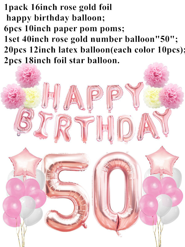 Rose and Gold Pom Poms Flowers,Perfect for 30 Years Party Supplies 30th Party Decorations Kit,Happy Birthday Banner,30th Gold Number Balloons,pink and white balloon
