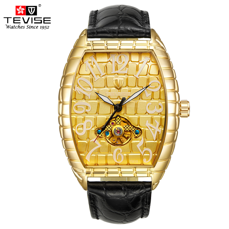 TEVISE Men Watches Automatic Self-Wind Mechanical Black Leather Tourbillon Gold Tonneau Dial Crocodile Pattern Wristwatch T8012 tevise men automatic self wind gola stainless steel watches luxury 12 symbolic animals dial mechanical date wristwatches9055g