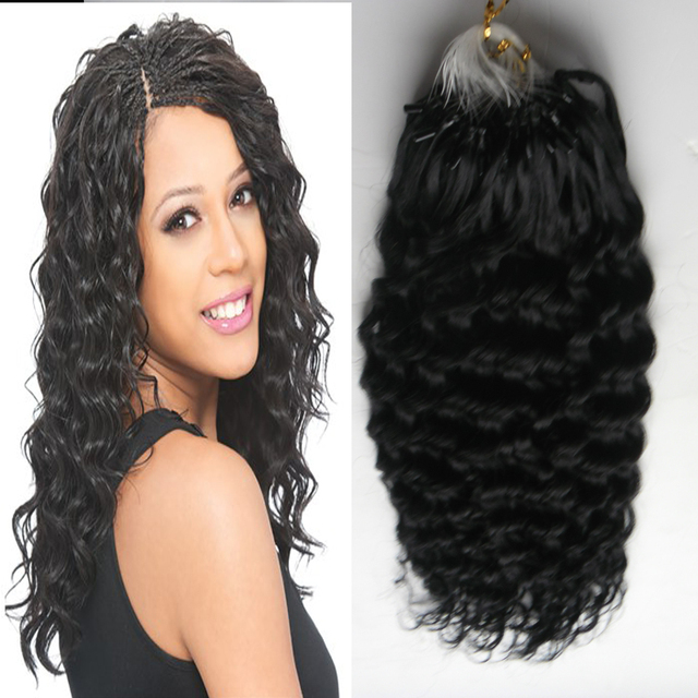 Brazilian Remy Virgin Human Kinky Curly Hair Micro Loop 1g Curly