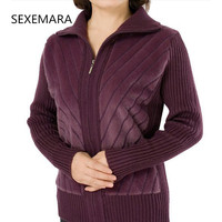 Tops Warm Artificial Fur Knit Sweater Women Coat Fall 2017 Winter Knit Patchwork Jacket Sweater Female