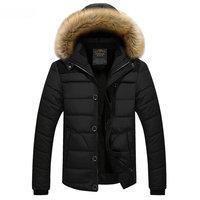 HCXY Brand 2017 Mens Winter Jacket Fur Hood Plus Size Parka Men Casual Coat For Male