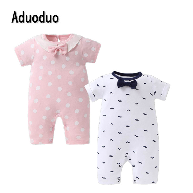2017 summer Baby girls pink romper one-pieces jumpsuit baby boys clothes Cotton short sleeve bodysuit bot cravat printed outwear