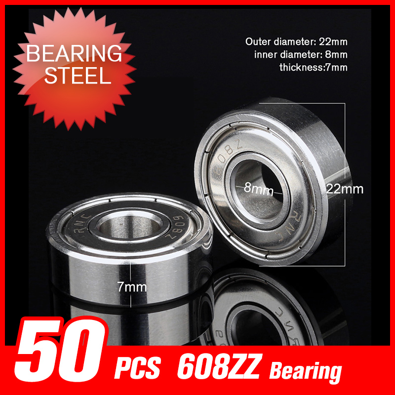 50pcs 608ZZ Bearings 22*8*7mm Deep Groove Raceway Miniature Ball For Printer Skating Bicycle Shaft Hardware Tool Accessories 10pcs f688 2z f688zz flange deep groove ball bearings 8 16 5mm for 3d printer reserved for motor