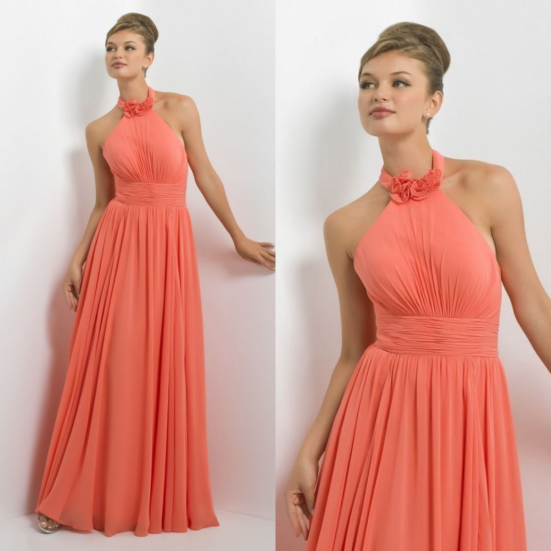 Free shipping 2018 custom made sexy halter flowers floor length long charming chiffon beach party prom gown   bridesmaid     dresses