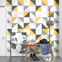 цена на Modern Square Wallpaper Nordic Europe Wall Paper Geometric Yellow Lattice Contact Paper for Living Room Bedroom Background Walls