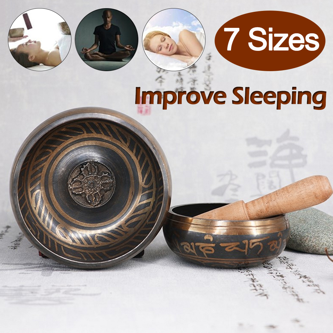 Tibetan Yoga Meditation Buddhist Sound Therapy Bowl  Nepalese Buddhist Scriptures Tibetan Bowl Sing Bowl Sound Therapy