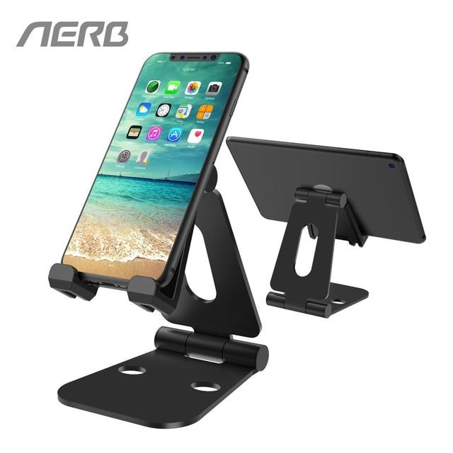 Soporte de teléfono de aleación de aluminio de AERB con bisagra Dual ajustable para teléfono móvil soporte de escritorio plegable soporte para iPad Tablet