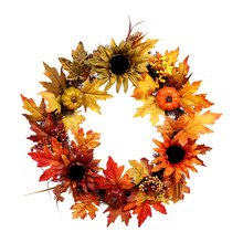HOYVJOY Autumn Sunflower Maple Leaf Handmade Garland 24 Inch for Thanksgiving/Halloween/Christmas Artificial Flower Decoration