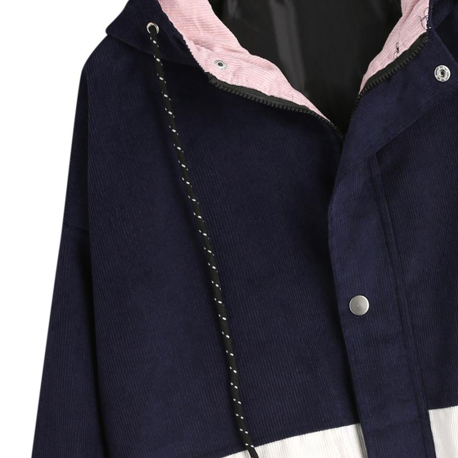 Long Sleeve Corduroy Patchwork Oversize Zipper Jacket Windbreaker coats and jackets women 54