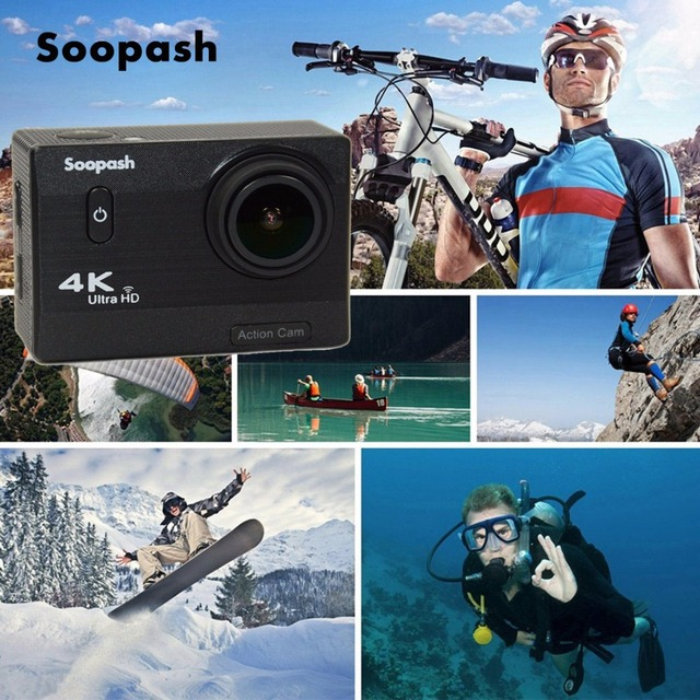 Soopash SP11 Action Camera 4K Ultra HD Slow Motion Adjustable Viewing angle go Waterproof pro camera wifi Extreme Sports