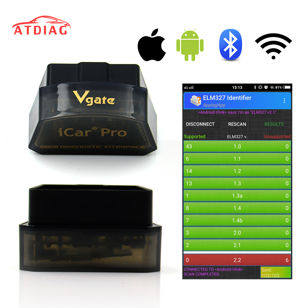 Hot Vgate iCar pro ELM327 Bluetooth 4 0 WIFI OBD2 Car Diagnostic Scanner For Android IOS ELM 327 Software V2 1 Diagnostic-Too