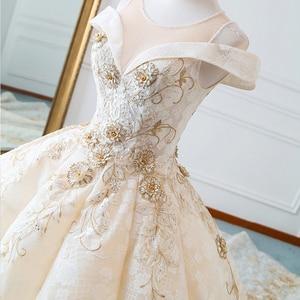 Image 4 - ใหม่หรูหราคอเรือแขนสั้น Appliques ประดับด้วยลูกปัดชุดแต่งงานลูกไม้สำหรับเจ้าสาว Gowns แต่งงานคู่แต่งงาน Vestido De Noiva