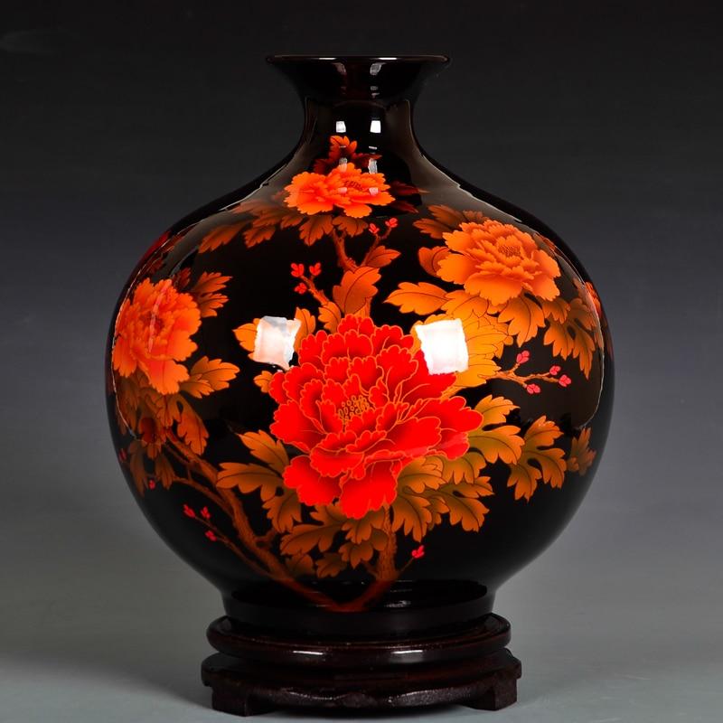 Moderne Jingdezhen Vase cristal glaçure en céramique cadeaux de noël cadeaux de mariage décoration de la maison artisanat Articles d'ameublement-in Vases from Maison & Animalerie    1