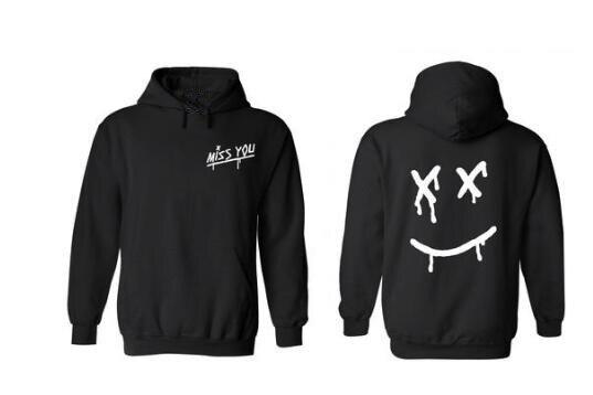 Louis Tomlinson Miss You Smiley Face Hoodie Sweatshirt With A Hood Men Women Hip Hop Hipster Pullover Fleece Hoody Coats Sudader