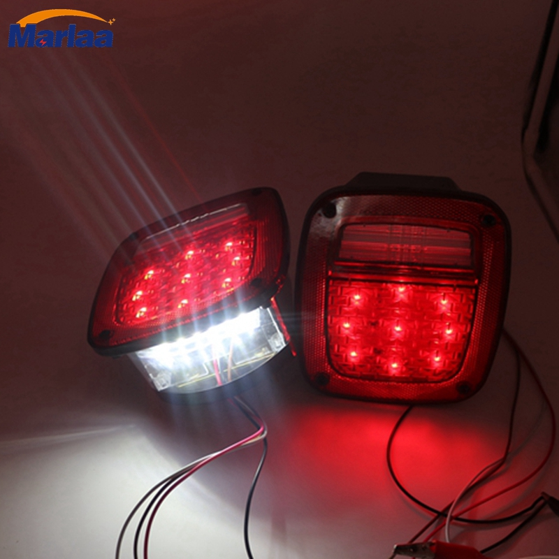 One pair USA Version LED Tail Light Assembly Right and left for 76-06 Jeep CJ/Wrangler YJ/TJ